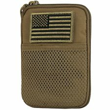 Condor Coyote Brown Tactical MOLLE Passport ID Wallet Phone Pouch w/ USA Flag