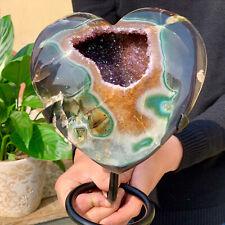 3.66LB Natural heart-shaped Amethyst gem quartz cluster crystal sample ener
