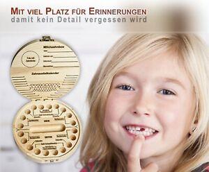 Zahndose Milchzähne mit Namensfeld, Display Funktion Holz Erinnerungsbox f. Baby