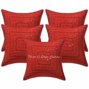 Traditional Sofa Cushion Covers 16 x 16 Embroidered Mirror Lace Cotton Set Of 5