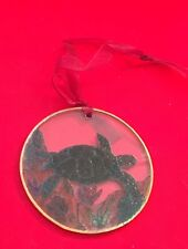 Hand-painted Swimming Turtle in grass Glass Ornament, brass rimmed (3+ diameter)