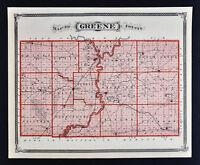 1876 Indiana Map - Greene County & Vincennes Sullivan Merom Plans - Bloomfield