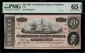 T-67 $20 1864 Confederate Currency CSA - Graded PMG 65 EPQ - Gem Uncirculated