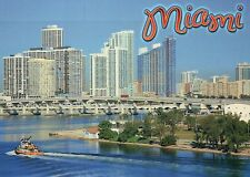Miami Florida, The Magic City, Causeway, Bicayne Bay, Boat, Skyline - Postcard