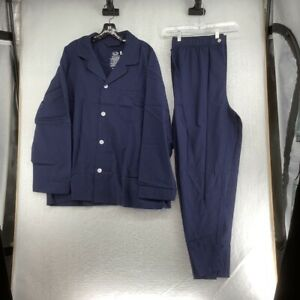Fruit Of The Loom Mens Broadcloth Pajama Set Blue Pocket Buttons XL 40-42 New
