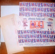 Vintage 1960 Easter Seals Stamps Sheet Society for Crippled Children envelope