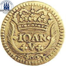 #794 Portugal 400 Reis Gold 1746 Goldmünze König Johann V - Jerusalem Kreuz
