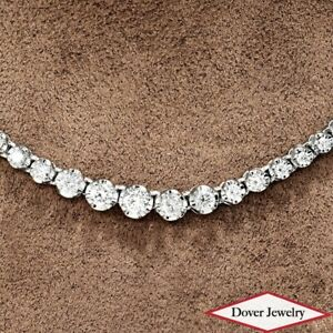 Estate 3.00ct Diamond Platinum Graduated Riviera Necklace 18.8 Grams NR