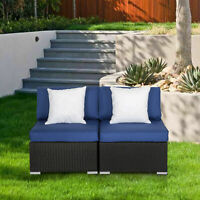 Wicker Patio Sofa Loveseat 2PC Armless Chair Outdoor Furniture Set Blue Cushion