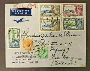 1935 1ST FLIGHT COVER GB UK MALAYSIA SINGAPORE SENT TO PLESMAN W3.27 $0.99