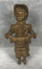 Vienna Bronze Miniature - Girl Playing with Clown Doll - Cold Painted Gold