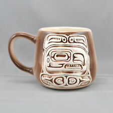 Juneau Alaska Mug Tribal Totem Pole Brown White Embossed Souvenir