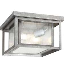 Sea Gull Lighting Hunnington Outdoor Flush Mount, Weathered Pewter - 78027-57