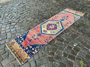 Vintage rug, Runner rug, Wool rug, Handmade rug, Turkish rug | 2,0 x 7,4 ft