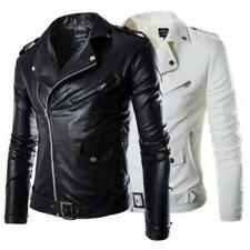 Mens Slim Fit Faux Leather Biker Jacket Cool Motorcycle Coat Overcoat Outwear