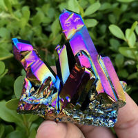 Natural Quartz Crystal Titanium Rainbow Aura Rock Cluster Geode Druzy Gemstone