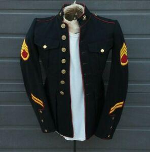 WWII US USMC Marine Corps Dress Blues Tunic, Staff Sgt. & Hash Mark Patches, EGA