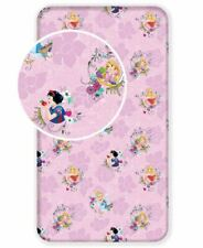 GIRLS DISNEY PRINCESS SINGLE FITTED COTTON BED SHEET - SNOW WHITE, REPUNZEL