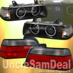 FOR BMW E36 COUPE HALO PROJECTOR BLACK HEADLIGHTS OE LOOK RED SMOKE TAIL LIGHTS