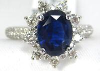 Certified BLUE Sapphire Ring Halo Diamond 2.65ct 14K White gold GIA App $8,926