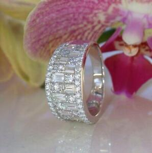 5ct Baguette Round Cut Diamond Wide Trendy Wedding Ring Band 14k White Gold Over