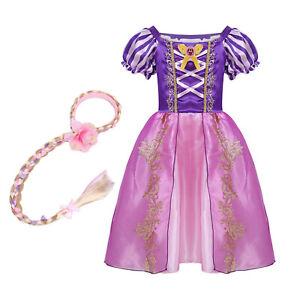 Kid Girl Sofia Princess Costume Fairytale Dress Up Rapunzel With Wig Fancy Dress