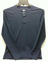 Woolrich Womens Shirt Size Medium Navy Blue Long Sleeve Button Henley Top
