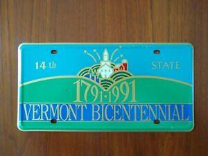 Vermont Bicentennial 1791-1991 Front License Plate Tag Commemorative Vintage