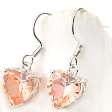Women Charms Heart Shaped Yellow Morganite Crystal Silver Dangle Earrings