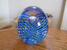 Studio AHUS Sweden Crystal Egg Art Glass Blue & Green Swirls Paperweight
