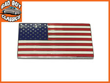USA AMERICAN FLAG METAL Autoadesivo SMALTO BADGE EMBLEMA Hot Rod
