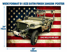 WILLYS 1942 MB JEEP WIDE FORMAT B1 SIZE SATIN FINISH 200GSM POSTER