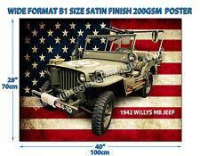Willys Jeep 1942 MB dimensioni grande formato B1 finitura satinata 200GSM POSTER