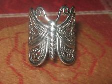 BEAUTIFUL 25MM LARGE 925 STERLING SILVER FILIGREE BUTTERFLY RING SIZE 7