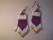 Cardinal Earrings handcrafted Seed Beaded red