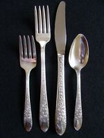 NATIONAL SILVER CO ROSE & LEAF PATTERN SILVERPLATE PLACE SETTING FORK SPOON +