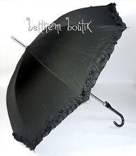 Goth : Parapluie Cloche & Canne NOIR Uni Noeud & Frou-Frou Manga Lolita Gothique
