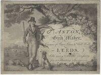 "1820s-30s Aston of Leeds Gunsmith ""Shooting Sportsmen"" Illustrated Card"