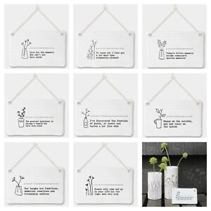 East Of India Porcelain Hanging Inspirational Quote & Flower Sign Gift Décor