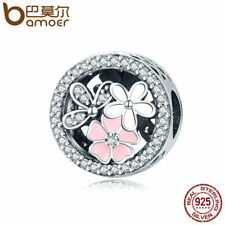 Bamoer European .925 Silver Charm Pink flowers With Clear CZ Fit Bracelets Chain