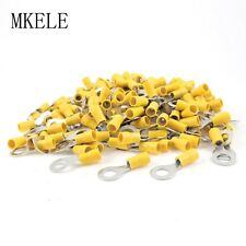 500PCS 12-10AWG RV5.5-8 Yellow Sleeve Pre Insulated Ring Terminals Connector