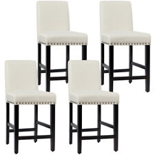 Set of 4 Counter Stools 25' Kitchen Breakfast Chairs Nailhead Barstools Beige