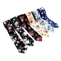 Fashion Men Floral Print Tie Suit Skinny Ties Slim Cotton Neck Tie Necktie U