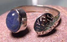 Sterling silver open band blue TANZANITE ring UK O/US 7.25.