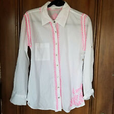 NEW - M / L - SUBTLE LUXURY - White & Neon Pink Girlfriend Shirt, Button Front