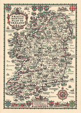 Pictorial Map of High Test Plan of Ireland Wall Art Poster Print Decor History