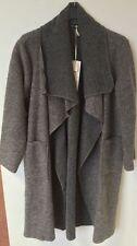 Italian 70% Boiled Wool Mix Coat LAGENLOOK Waterfall Pocket Duster Jacket 12-20