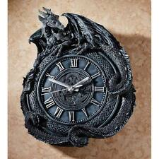 Sculptural Dragon Gothic Wall Clock Long Infinity Tail Roman Numerals Gargoyle