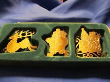 Retired PartyLite Holiday Candle Ornaments Reindeer Santa Sleigh Brass~ Lovely!~