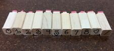 Wood Mounted Rubber Stamp Lot Of 11 Numbers Symbols 1/2